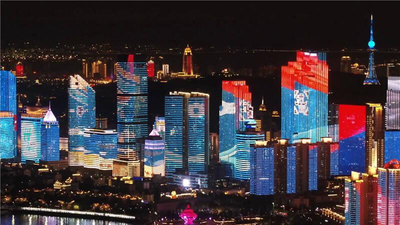 青岛:流光溢彩华丽换装  庆祝建党百年灯光秀耀动浮山湾