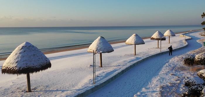 组图|威海南海新区 雪中美景如童话世界