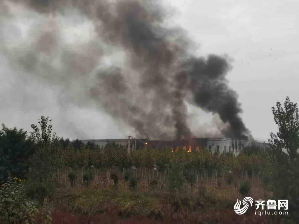 菏泽鄄城一产业园发生火灾,现场浓烟滚滚,消防员正在扑