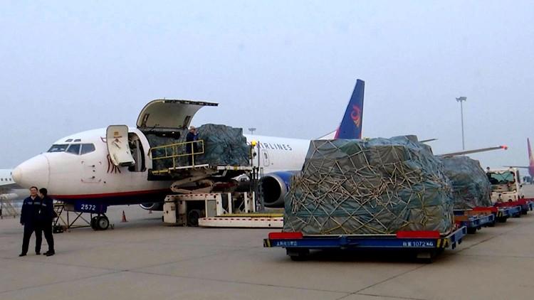 起飞!衣服、箱包、电子产品...13吨货物搭乘济南首条日本全货运航线飞机出发