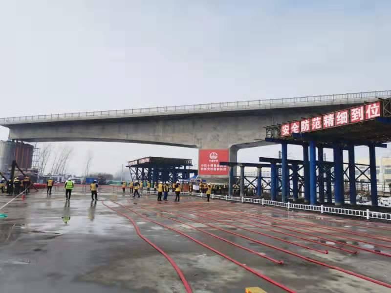 耗时46分钟!6400吨鲁南高铁菏曲段跨新兖铁路转体梁成功转体