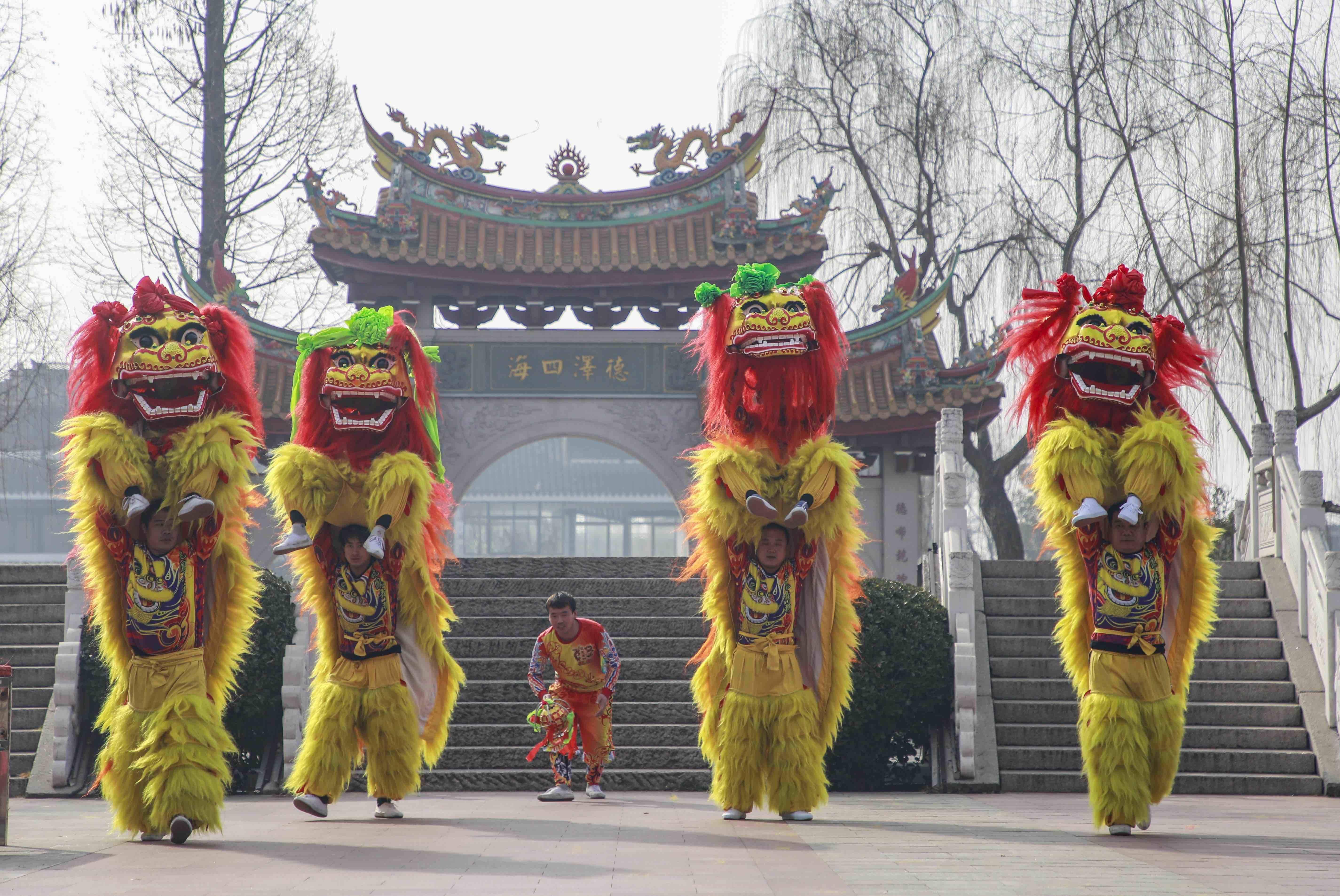 北狮贺岁迎春节 台儿庄古城年味浓