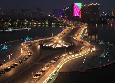 48秒航拍看滨州中海夜景 市民消夏好去处