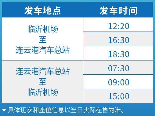 7月15日临沂国际机场将开通至连云港汽车总站直达班车
