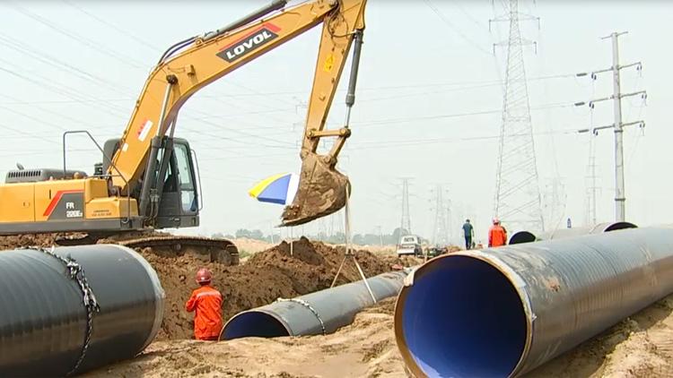 38秒丨邹平孝妇河治理供水管道改造专项工程将于7月底竣工通水