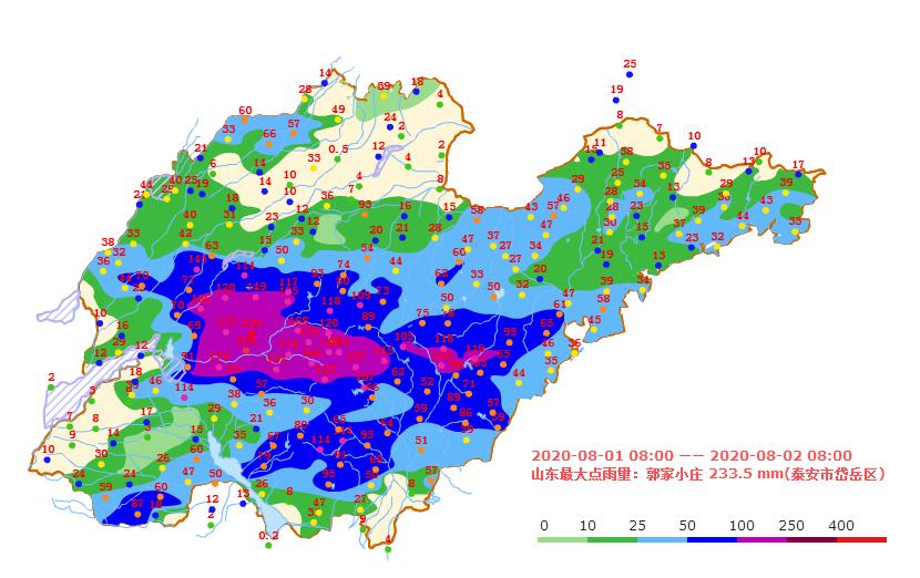 海丽气象吧 | 8月1日8时至2日8时 山东4个县(市、区)降水超过100毫米