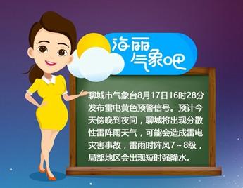 海丽气象吧 今夜聊城有分散性雷阵雨 请注意预防雷电灾害事故