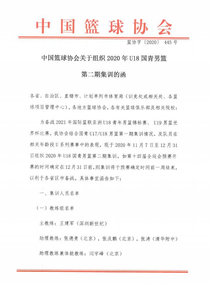 U18国青男篮集训名单出炉 山东共三人入选