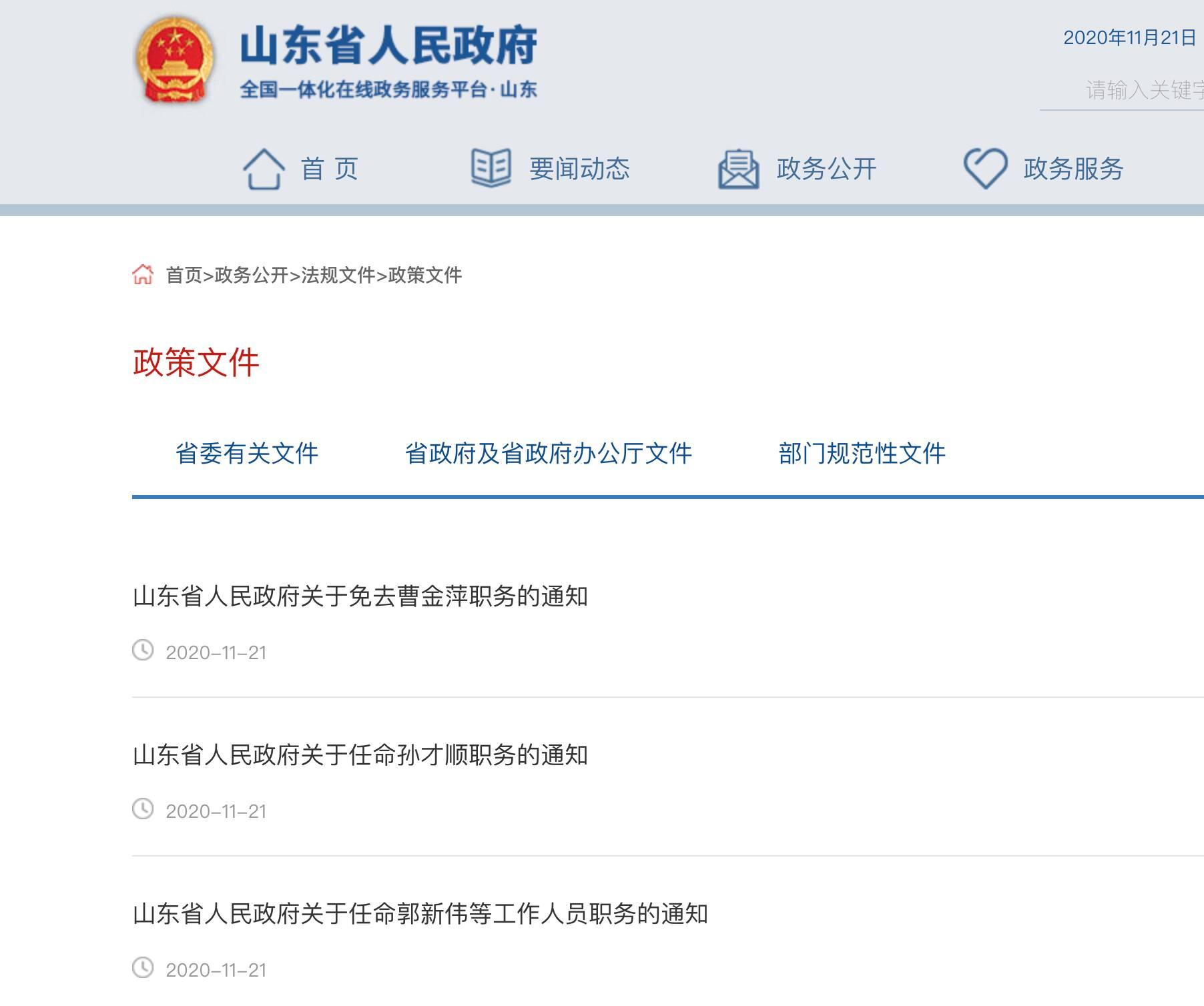 山东省政府发布一批人事任免 涉多所高校