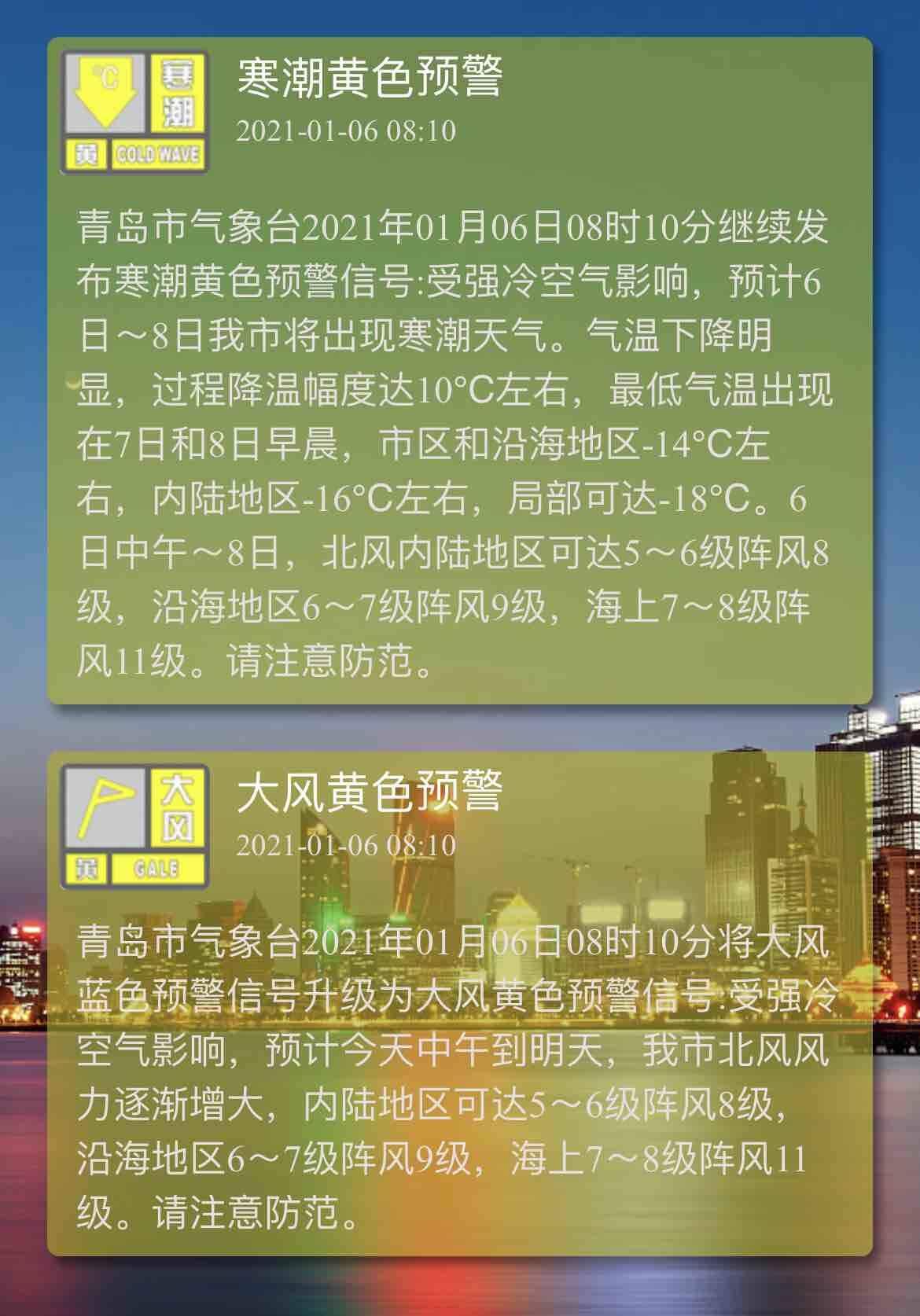 青岛继续发布寒潮黄色预警和大风黄色预警 局部低温可达-18℃