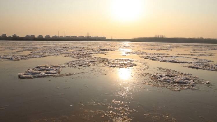 最大冰块面积120平方!寒潮来临,黄河东营段出现淌凌现象