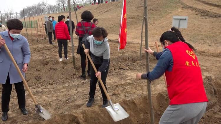 116秒|植树节来临!聊城东阿600余人齐参与 为黄河母亲种下一片绿