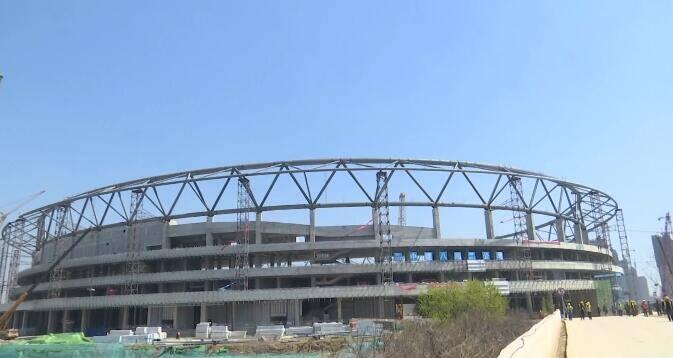 26秒|日照奎山体育中心项目钢结构工程顺利合龙