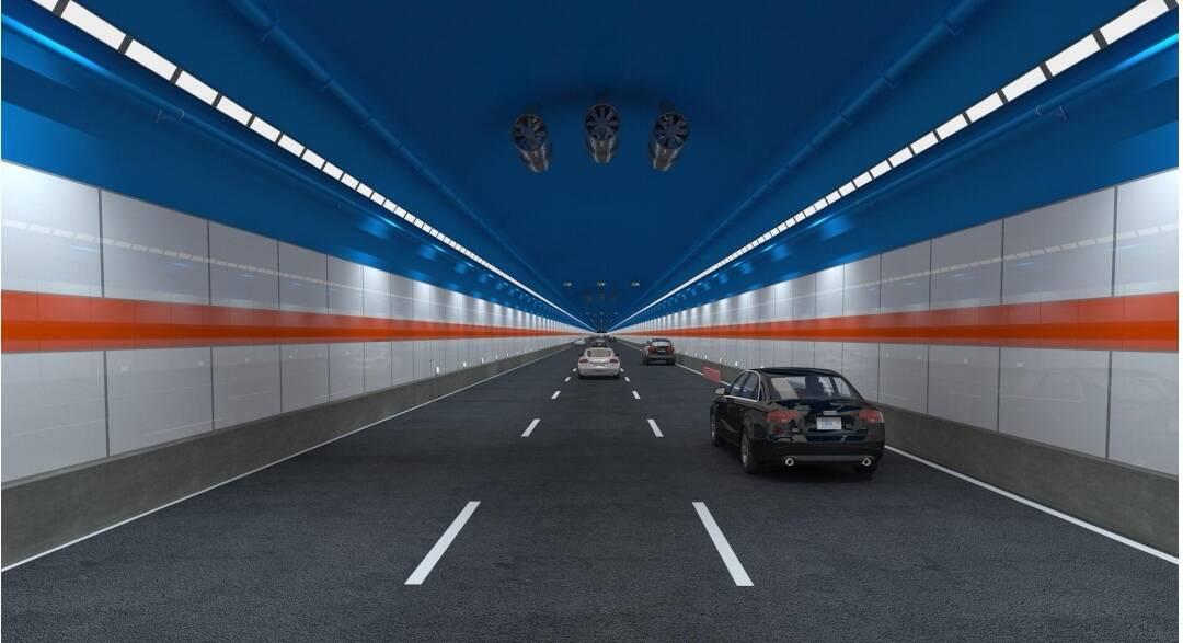 钛白色国际橘加天蓝色! 通车后的济南黄河隧道是这个样子