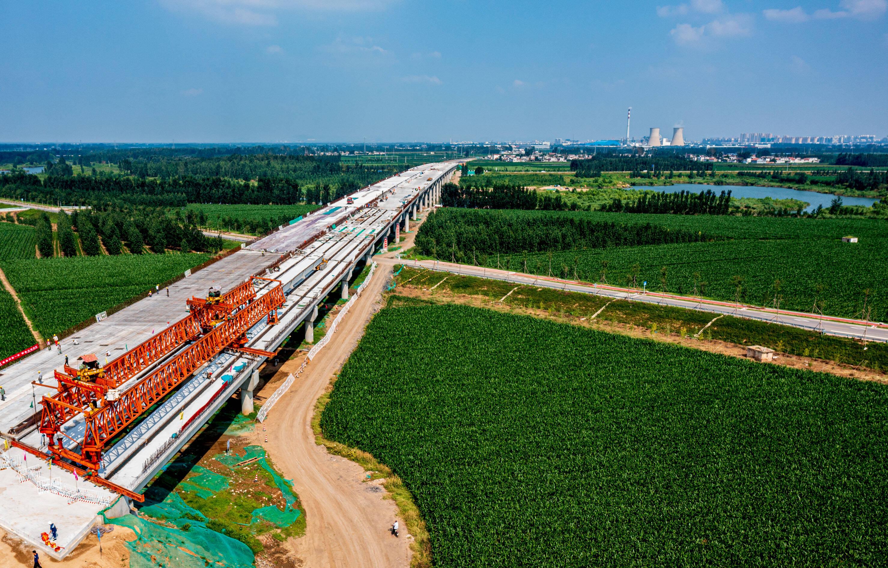泗河大桥箱梁架设全部完成 曲阜济宁间将多一条交通干道