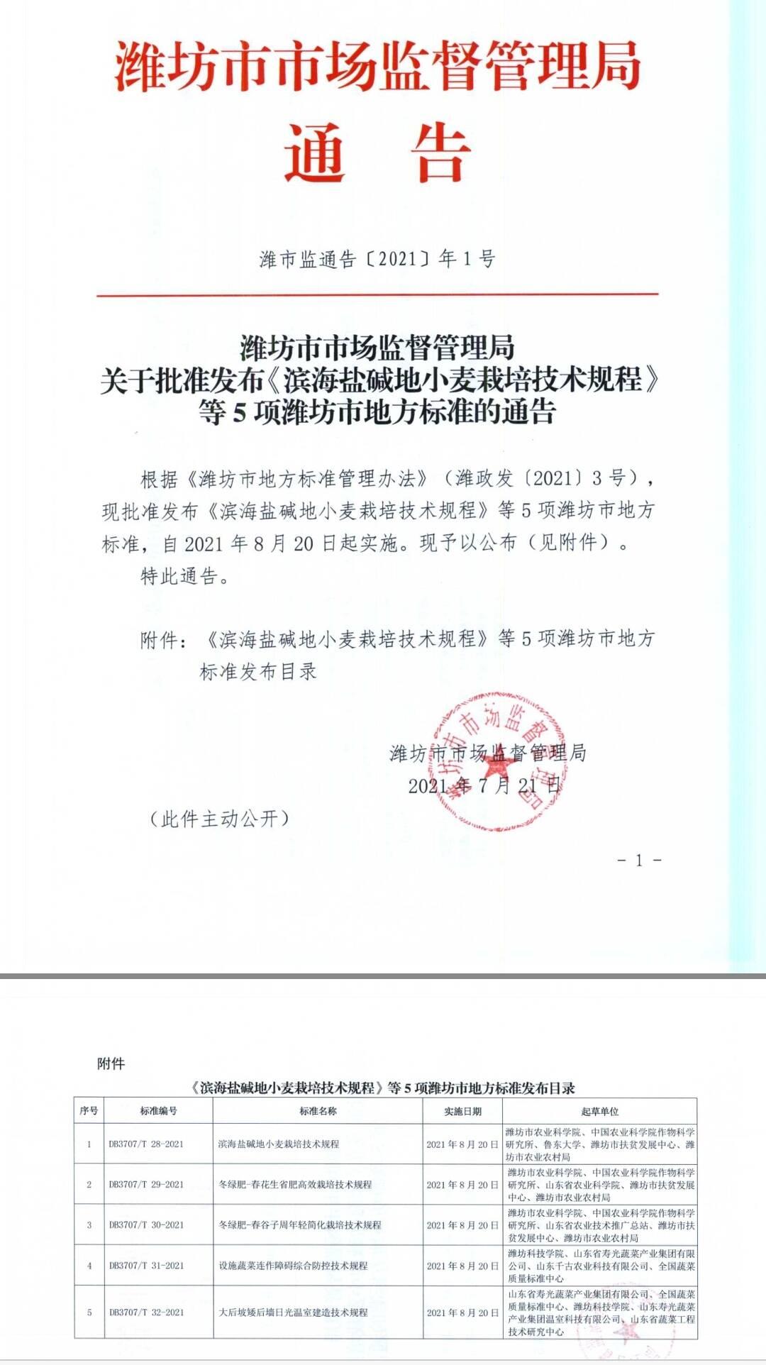 潍坊发布5项地方标准 推进设施农业升级