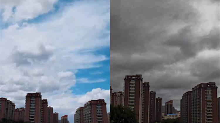 """震撼!潍坊摄影师3天拍摄1000余张图片 记录台风""""烟花""""过境全过程"""