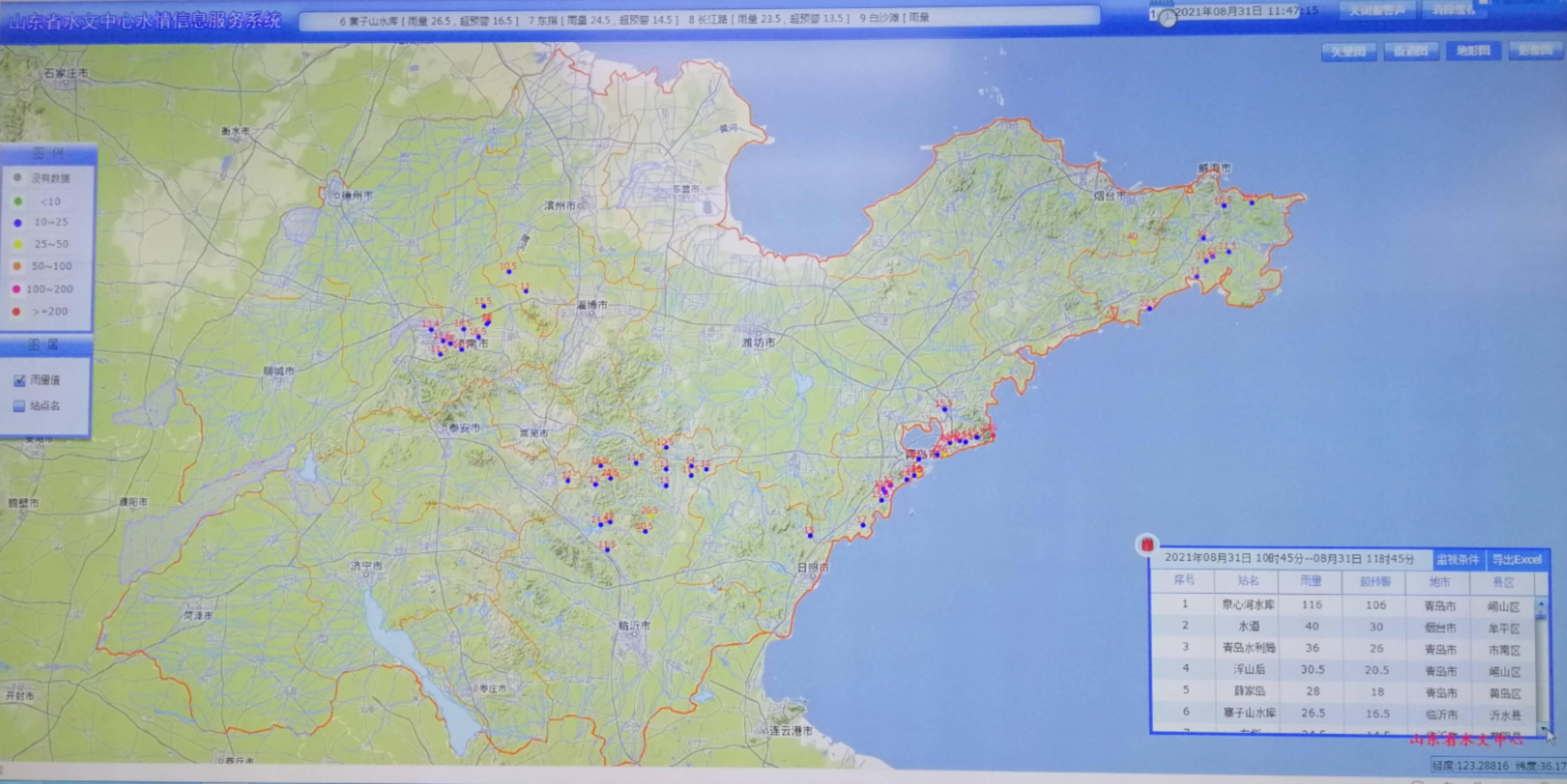 潍坊东部、烟台、威海和青岛预计今日有大到暴雨 山东省防指31日12时发布防汛预警