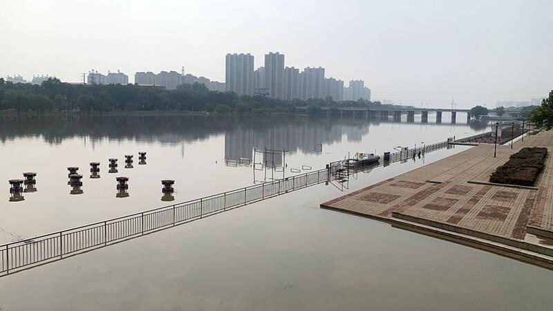漳卫南运河第三次行洪 德州河道景区设立警示标志:注意安全远离河道