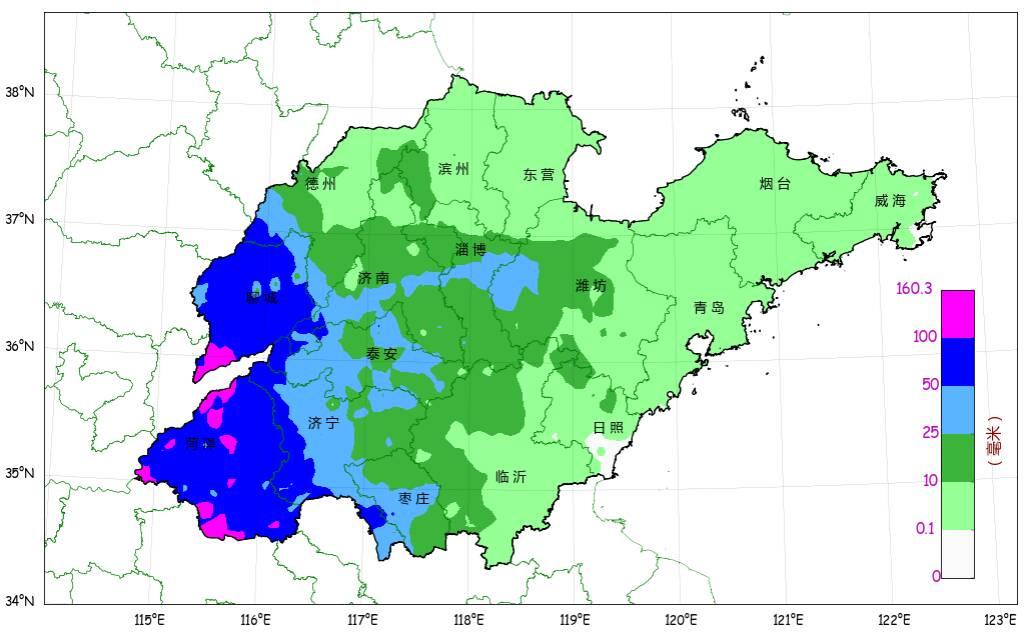 预计25日傍晚到26日白天 鲁西北的西部、鲁中的南部和鲁南地区有大雨局部暴雨