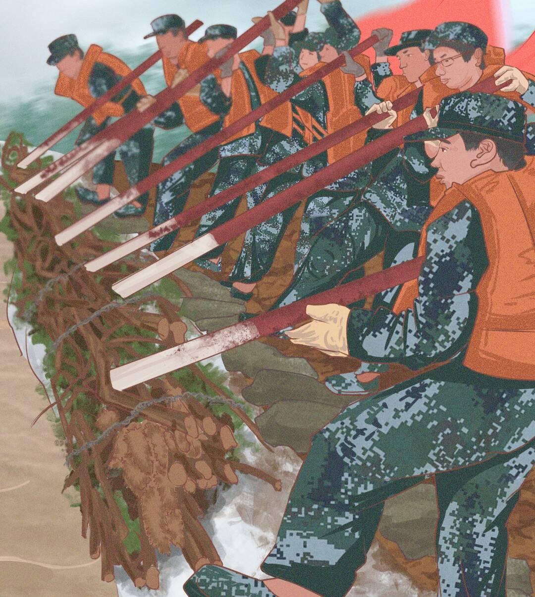 这就是山东?战秋汛丨手绘海报致敬坚守