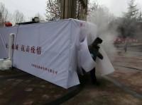 """潍坊青州这个""""硬核""""小区防疫 门口搭建专门消毒通道对出行人员消毒杀菌"""