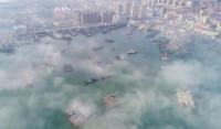 35秒丨港城石岛遇上平流雾 出海渔船若隐若现 如梦幻仙境