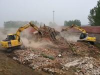 滨州博兴北营村对小清河防洪综合治理占地红线内地上建筑物集中拆除